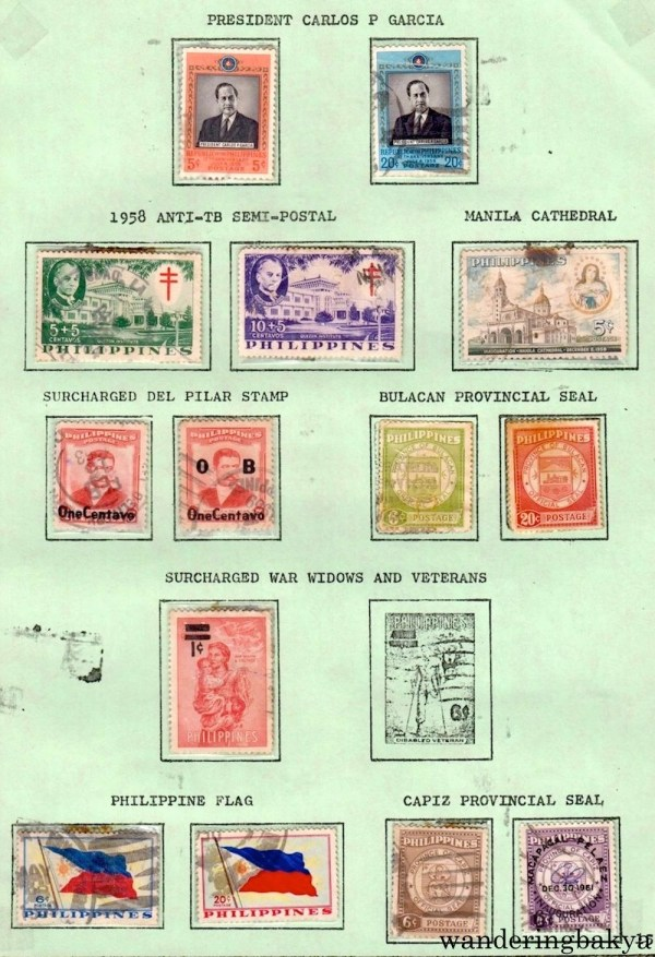 Philippine Stamps: President Carlos P. Garcia, 1958 Anti-TB Semi-Postal, Manila Cathedral, Surcharged Del Pilar Stamp, Bulacan Provincial Seal, Surcharged War Widows and Veterans, Philippine Flag, and Capiz Provincial Seal.