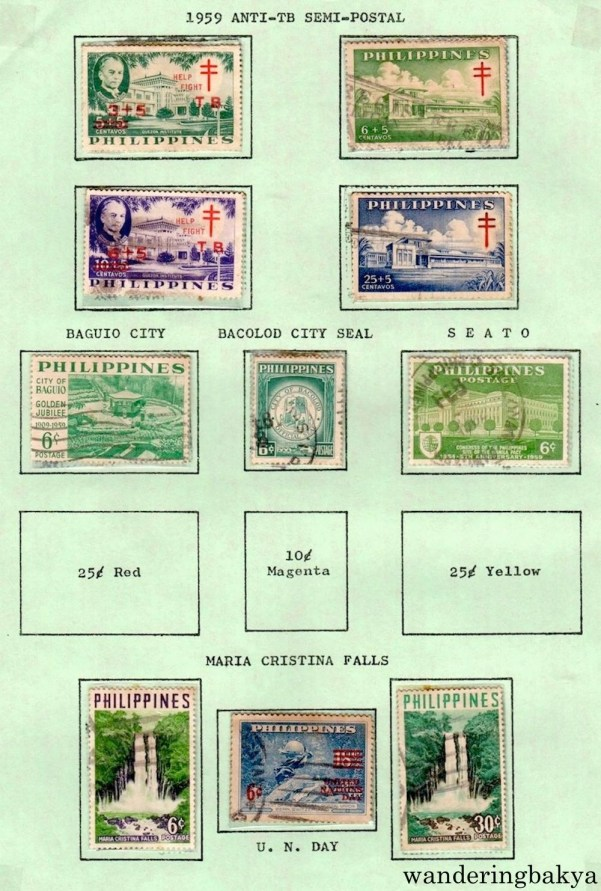 Philippine Stamps: 1959 Anti-TB Semi-Postal, Baguio City, Bacolod City Seal, SEATO, and Maria Cristina Falls.