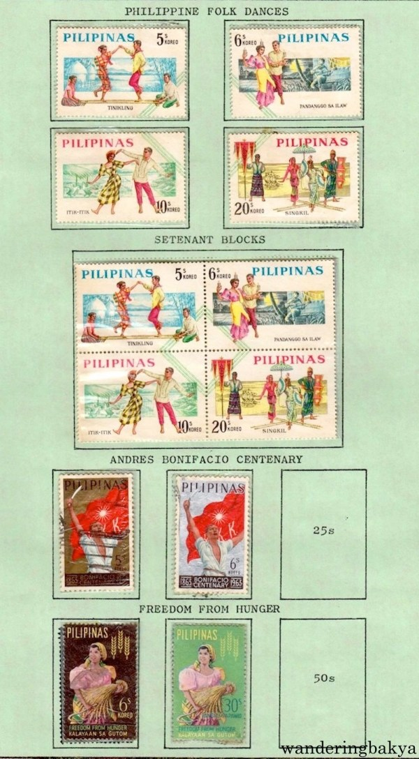 Philippine Stamps: Philippine Folk Dances, Setenant Blocks of Philippine Folk Dances, Andres Bonifacio Centenary, and Freedom from Hunger.