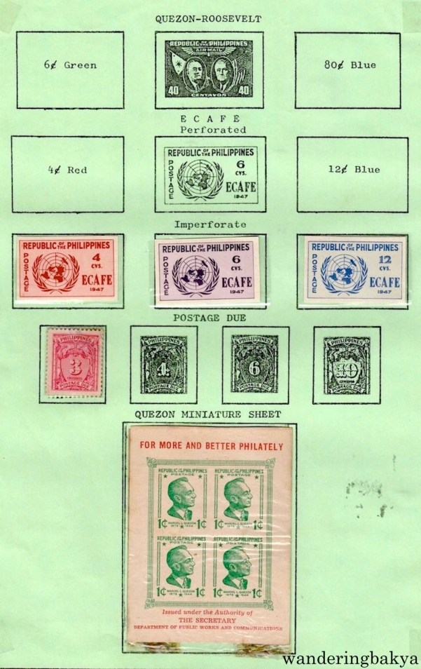 Philippine Stamps: Quezon-Roosevelt, ECAFE Imperforate, Postage Due, and Quezon Miniature Sheet. A miniature set costs more than regular stamps.