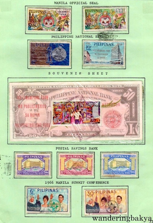 Philippine Stamps: Manila Official Seal, Philippine National Bank and Souvenir Sheet of Philippine National Bank, Postal Savings Bank, and 1966 Manila Summit Conference.