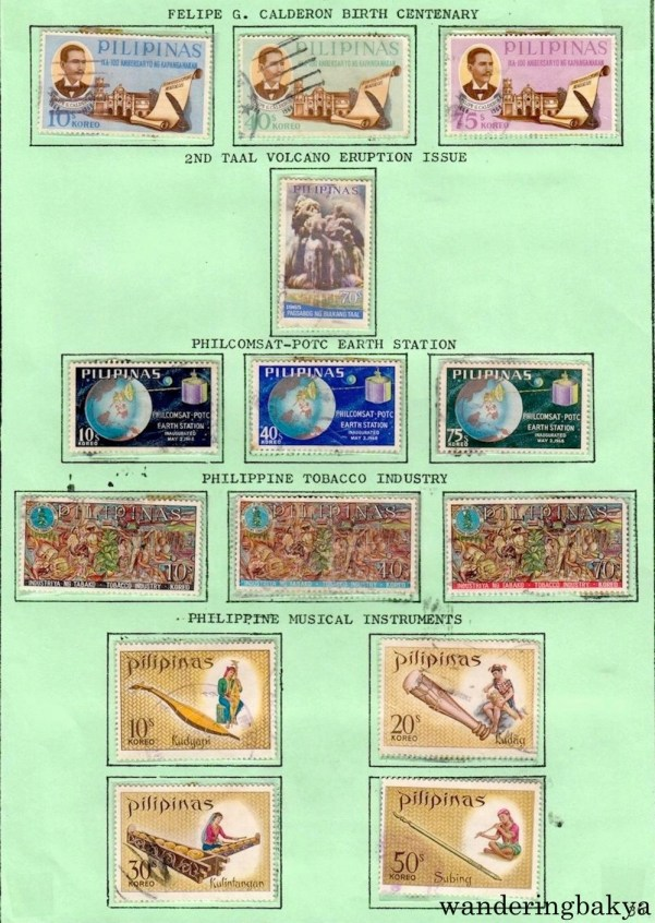 Philippine Stamps: Felipe G. Calderon Birth Centenary, 2nd Taal Volcano Eruption Issue, Philcomcast-POTC Earth Station, Philippine Tobacco Industry, and Philippine Musical Instruments.