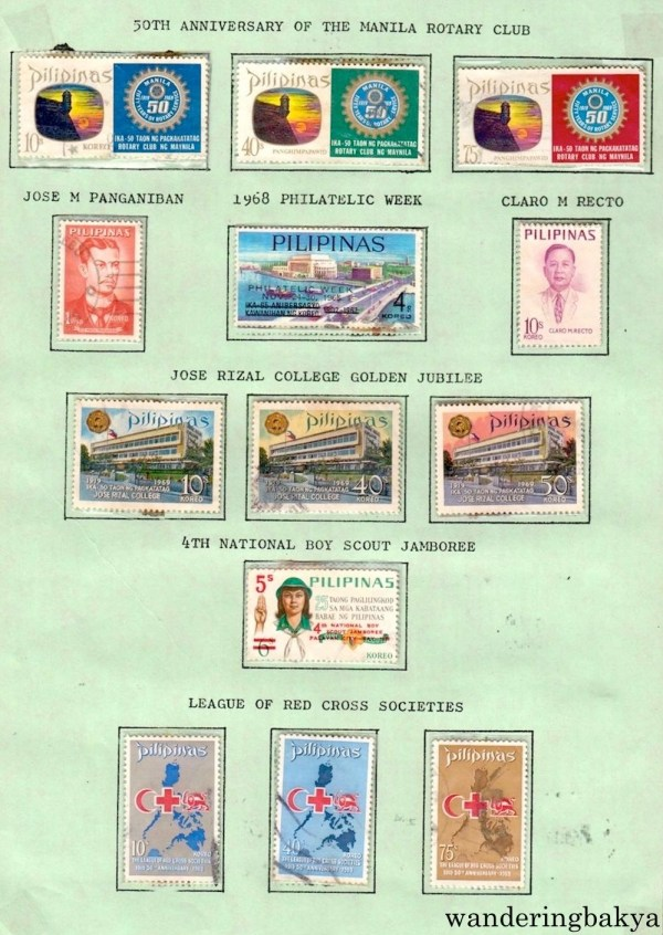 Philippine Stamps: 50th Anniversary of the Manila Rotary Club, Jose M. Panganiban, 1968 Philatelic Week, Claro M. Recto, Jose Rizal College Golden Jubilee, 4th National Boy Scout Jamboree, and League of Red Cross Societies.