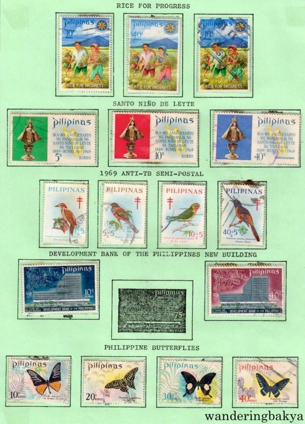 Philippine Stamps: Rice for Progress, Sto. Niño de Leyte, 1969 Anti-TB Semi-Postal, Development Bank of the Philippines New Building, and Philippine Butterflies.