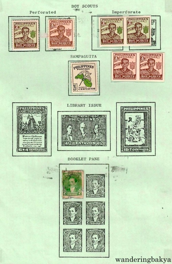 Philippine Stamps: Boy Scouts (Perforated and Imperforate), Sampaguita and Booklet Pane.