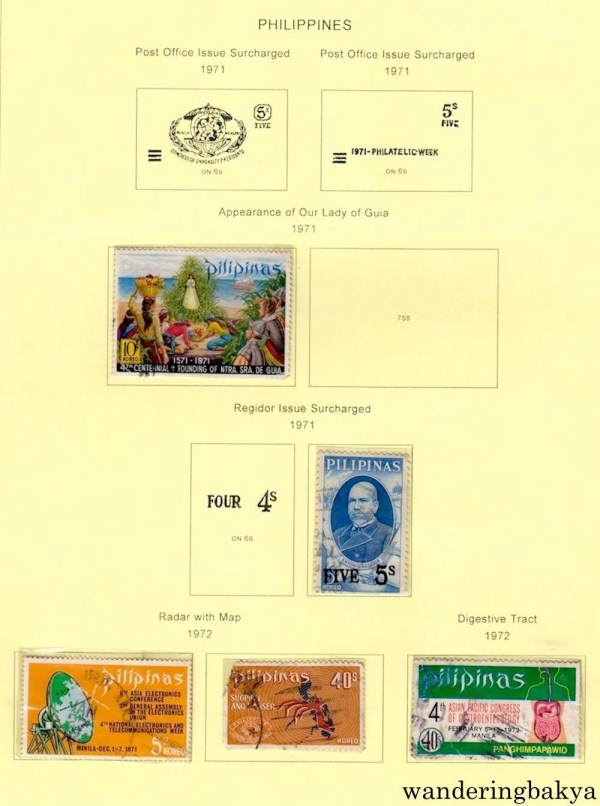 Philippine Stamps: Appearance of Our Lady of Guia (1971), Regidor Issue Surcharged (1971), Radar with Map (1972) and Digestive Tract (1972).