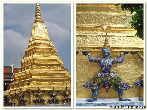 The golden chedi at Wat Phra Kaew. Guarding the golden chedi are demon mythical creatures.