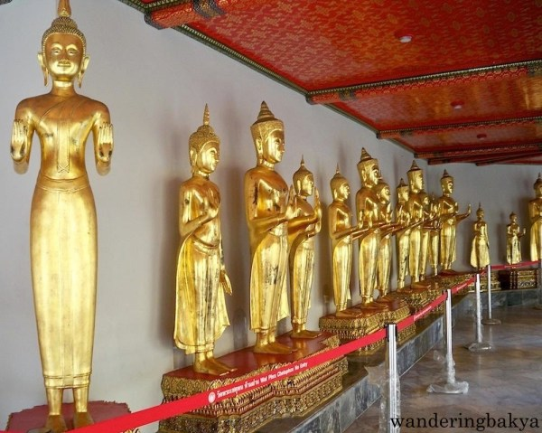 Some of the standing Buddha images found in Phra Rabiang. These Buddha images were chosen from 1200 images originally brought by King Rama I from Northern Thailand.