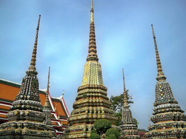 Wat Po stupas or chedis. Wat Po has 91 chedis. They are different in size, style and color. Some of the chedis are depository of the ashes of former kings of Thailand.