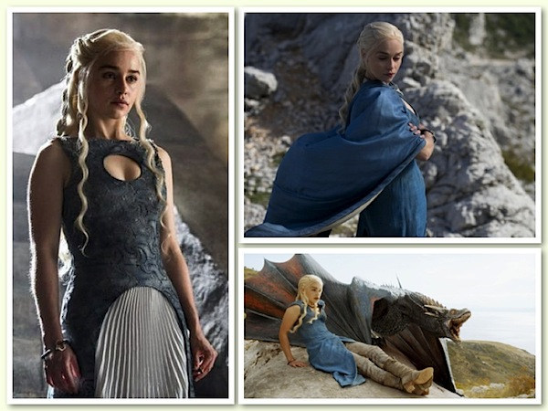 Daenerys Targaryen and her beautiful bolts of cloth. Photos from collider.com, zimbio.com and the ibtimes.com