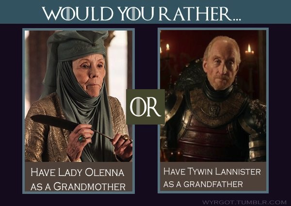 Game of Thrones' Lady Olenna Tyrell and Lord Tywin Lannister. Photo from pinterest.com