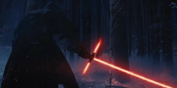 Star Wars: The Force Awakens' Kylo Ren and his lightsaber. Photo from screenrant.com