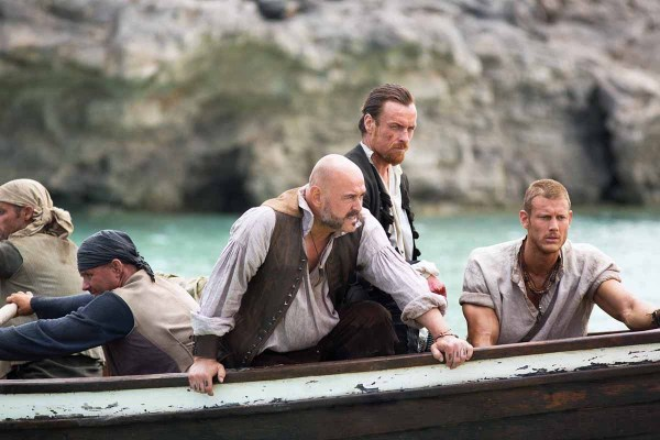 Black Sails' Captain Flint (Toby Stephens), Hal Gates (Mark Ryan) and Billy Bones (Tom Hopper). Photo from assignmentx.com