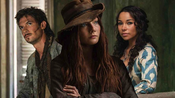 Black Sails' Jack Rackham (Toby Schmitz), Anne Bonny (Clara Paget) and Max (Jessica Parker Kennedy), Photo from ign.com