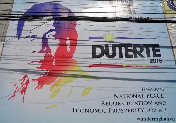 Giant tarpaulin of Philippine presidential candidate Rodrigo Duterte. This tarpaulin measures 25 ft by 20 ft.