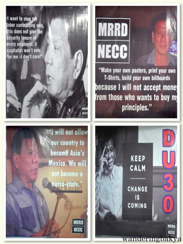 Tarpaulins of Mayor Rodrigo Duterte and his memorable quotes at the MRRD NECC National Headquarters.
