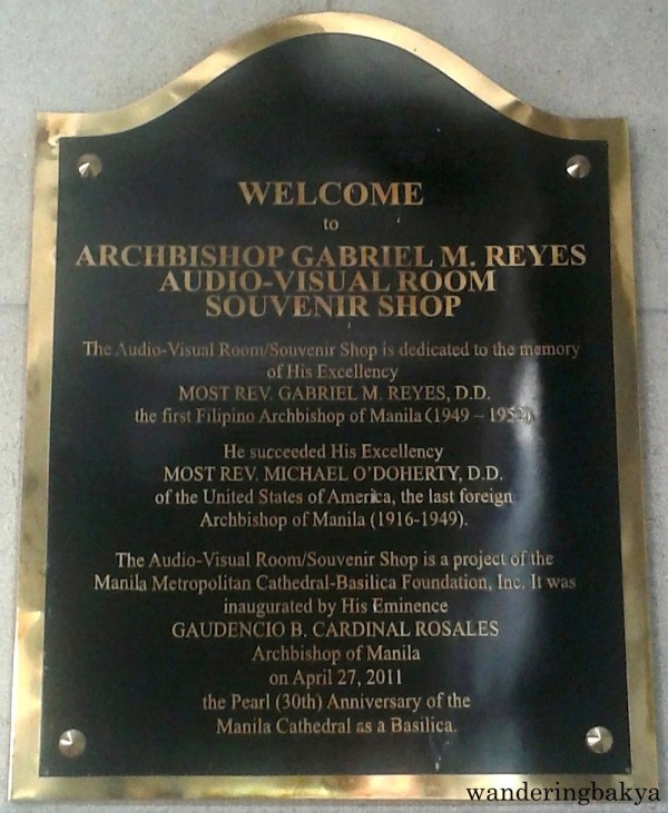 The marker of the Archbishop Gabriel M. Reyes Audio-Visual Room (AVR) Souvenir Shop