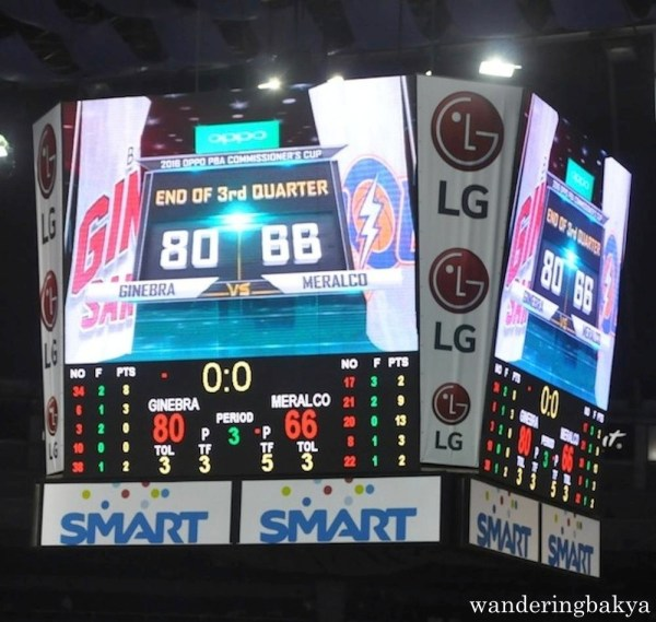 Third Quarter score between Barangay Ginebra and Meralco Bolts
