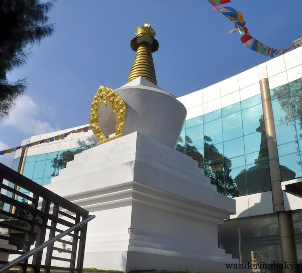 The stupa inside Wisdom Park as seen from one of the entrances