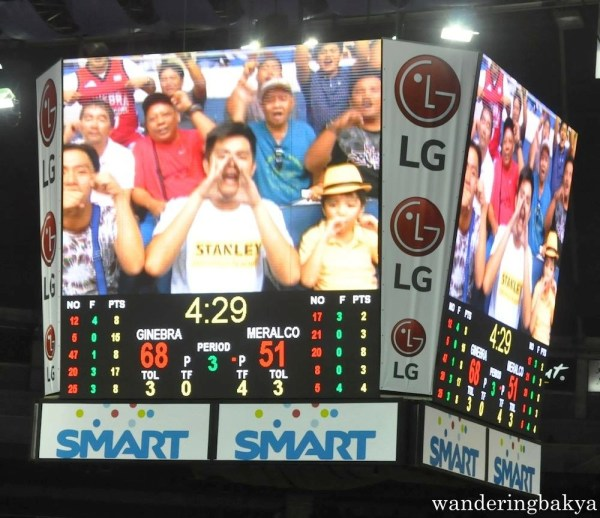 Cheering PBA fans during the Barangay Ginebra – Meralco Bolts game
