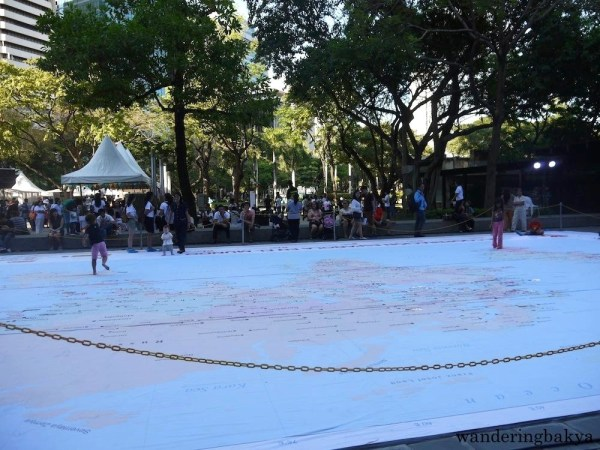 The giant interactive map was a popular destination for children. Photo by SPRDC.
