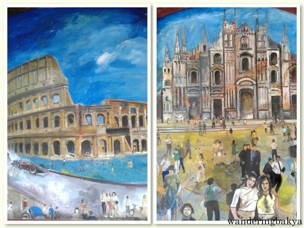 Some of the images on the outside wall of Bellini's