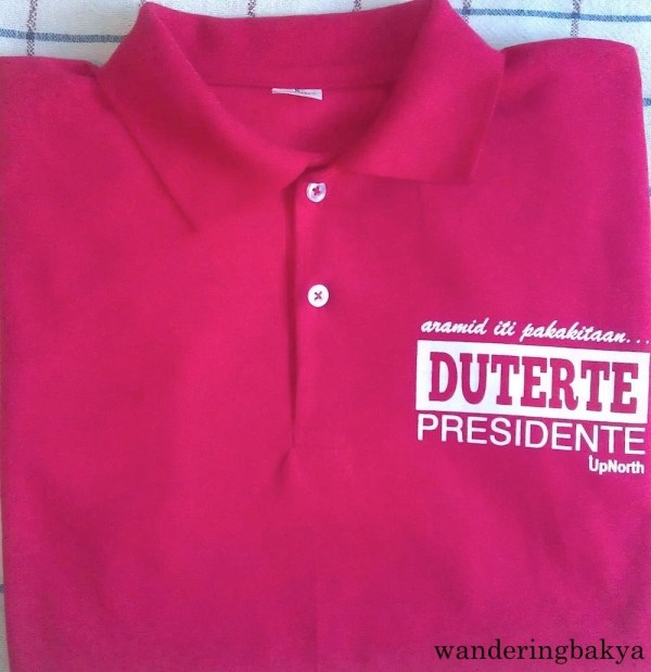 """The front of """"Duterte Presidente"""" shirt from UpNorth (with collar)."""