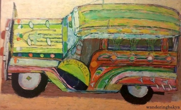 PUJ, 1970 (Oil on plyboard). Collection of the Cultural Center of the Philippines. PUJ means Public Utility Jeepney – the most common mode of transportation in the Philippines.