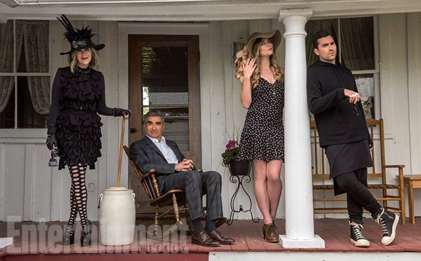 The Roses of Schitt's Creek: Moira (Catherine O'Hara), Johnny (Eugene Levy), Alexis (Annie Murphy) and David (Daniel Levy). Photo from ew.com