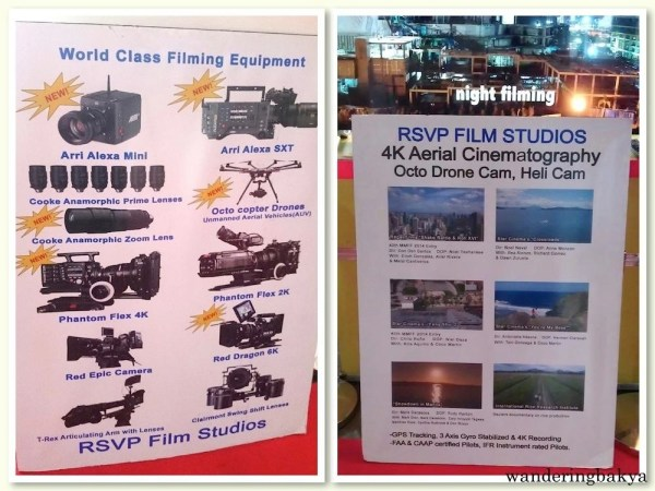 RSVP Film Studios' list of equipment and scenes in films shot by their Octo Drone, Heli Cam. Photo on the left by SPRDC.