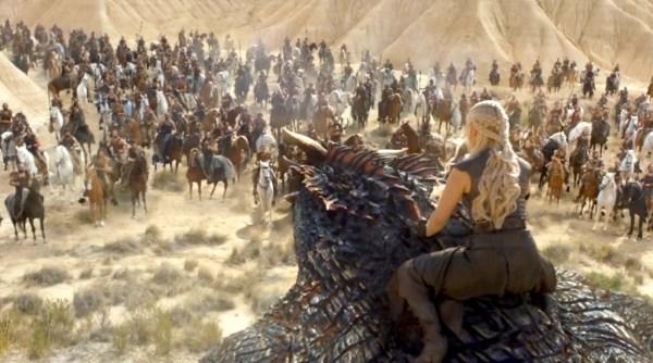Game of Thrones' Daenerys Targaryen (Emilia Clarke) talking to the Dothrakis. Photo from dev.australianetworknews.com