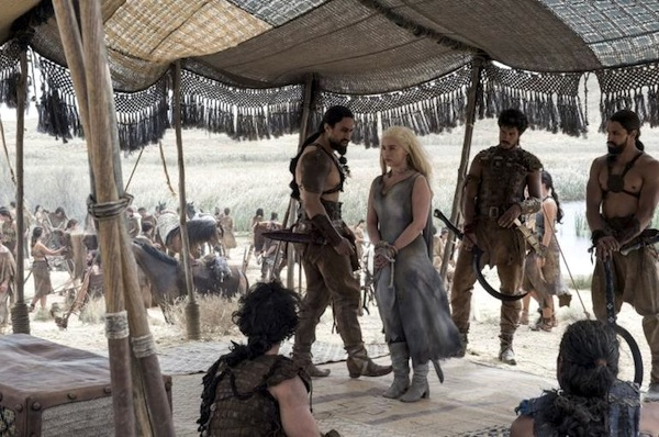 Game of Thrones' Khal Moro (Joe Naufahu) and his bloodriders with Daenerys Targaryen (Emilia Clarke) before they discussed the five best things in life. Photo from hollywoodtake.com
