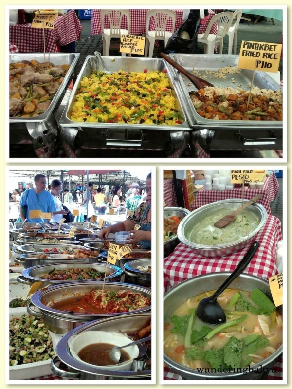 Some of the main dishes sold at Sidcor Sunday Market: turmeric rice with tomatoes and raisins, pinakbet fried rice and fish fillet pesto.