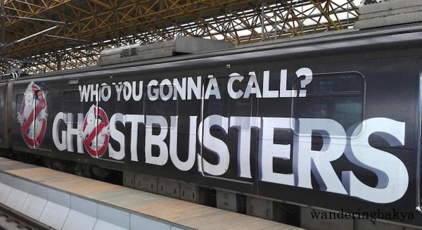 The Ghostbusters ad on LRT Line 2 train promoting the 3D movie.