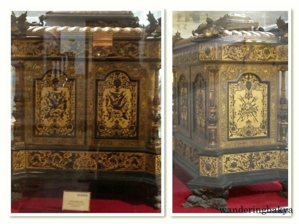 This gold inlaid chest is the repository of the 1935 Constitution.