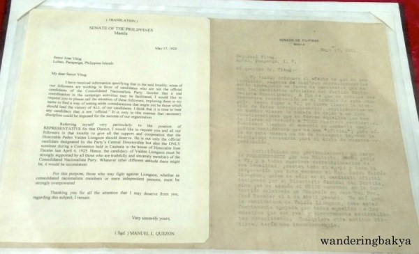 Letter of Senate President Manuel Quezon to Jose Vitug of Lubao, Pampanga, endorsing him as Nacionalista candidate.
