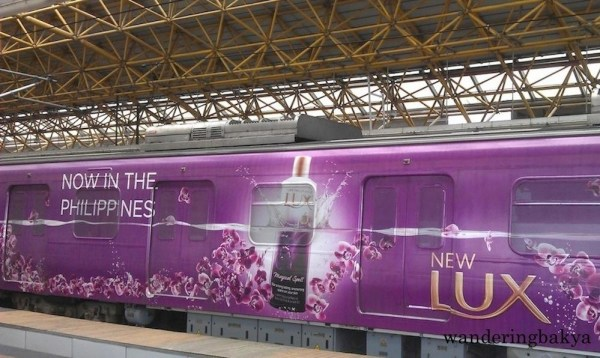 Lux announced the arrival of its new product through this wrap ad on LRT Line 2 train. This was replaced a few months ago.