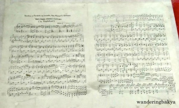 "Musical Piece ""Anti Hare-Hawes-Cutting"", dedicated to the President of Philippine Senate by Hilario F. Rubio. Published by Marcelino Masangkay. Copyright 1934."