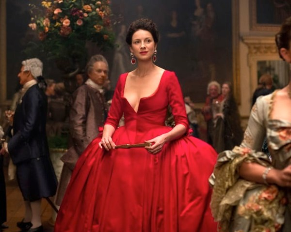 Outlander's Claire Randall Fraser's red dress. Photo from usmagazine.com