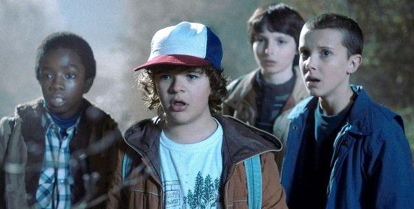 Stranger Things kids: Lucas Sinclair (Caleb McLaughlin), Dustin Henderson (Gaten Matarazzo), Mike Wheeler (Finn Wolfhard), and Eleven (Millie Bobby Brown). Photo from theverge.com