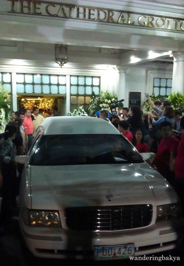 The hearse in front of The Cathedral Grottos, Immaculate Conception Cathedral, Cubao, Quezon City