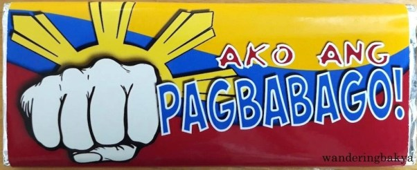 "In support of President Rodrigo Duterte's call for change, Unit 16 Sweets has ""Ako ang Pagbabago"" (I am Change/I represent change.) chocolate bar."