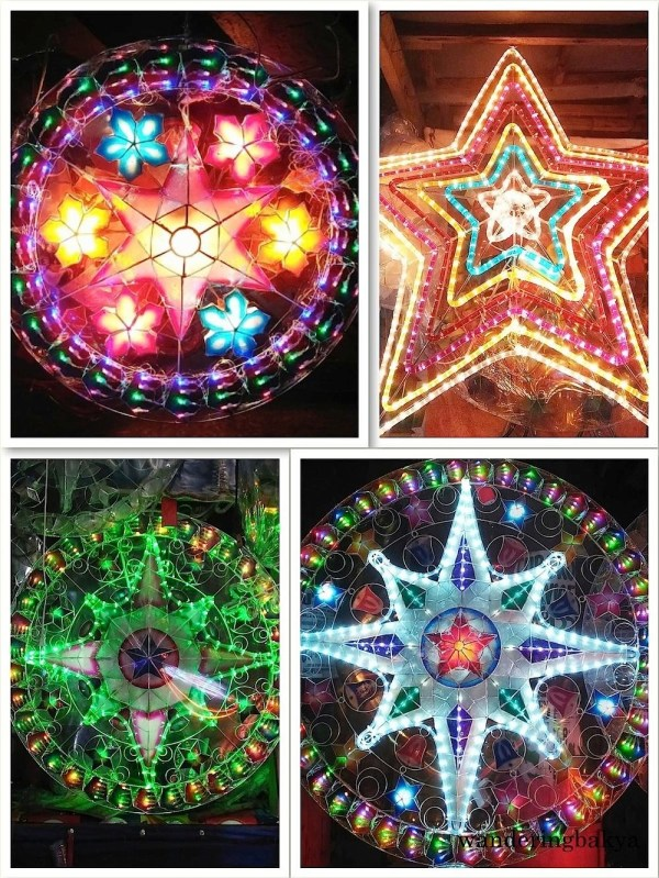Some of the parol (Christmas lanterns) sold in Barangay Valencia, Quezon City.