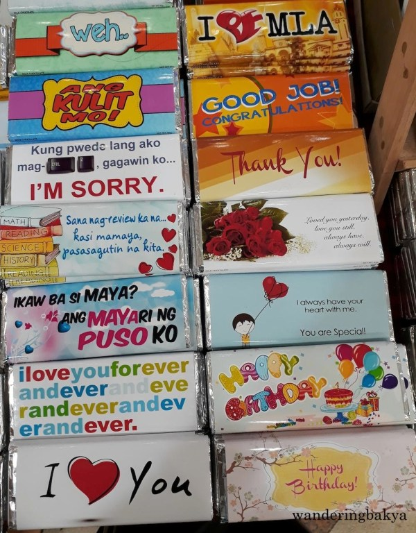 "And more hugot lines on the left side of this photo. I am sure whoever receives these chocolates will either say ""awww, so sweet"" or roll their eyes."