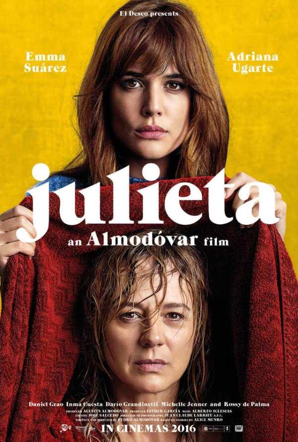 Movie poster of Pedro Almodóvar's Julieta. Image from entertainmentfocus.com