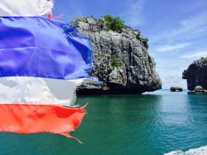 thai flag in bay of tahiland