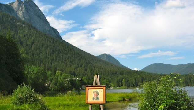 Art vacation at Lake Hintersee in Germany, easel by the water