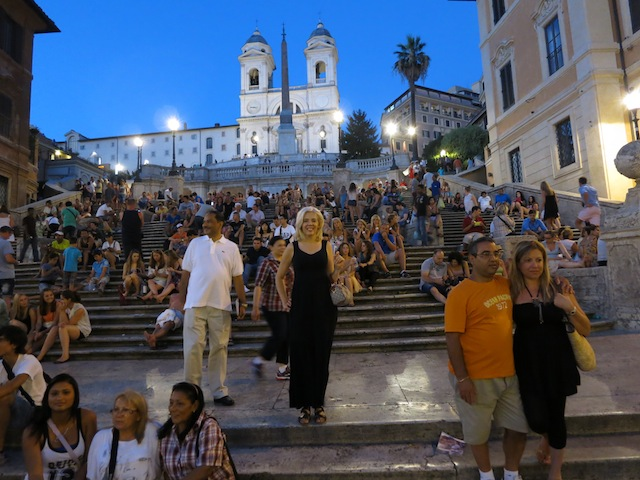 Crowds at the Spanish Steps in Rome, Italy
