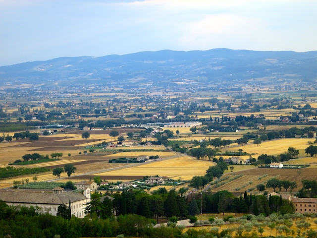Visiting Assisi, view of Umbria from hilltop town