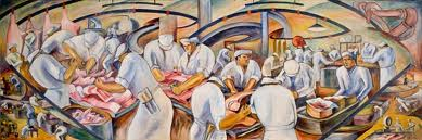 William Perehudoff meat packing mural from the 1940s